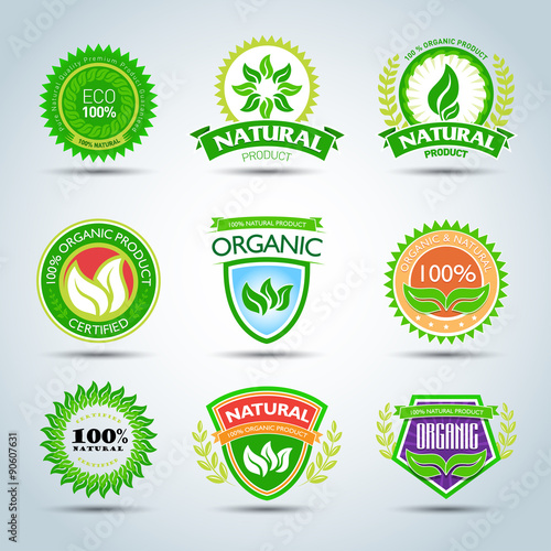 Eco logo template set 100 organic product certified natural – Product Label Template