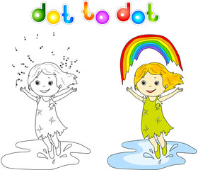 Girl dancing with rainbow dot to dot