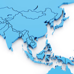 Extruded map of Asia with national borders