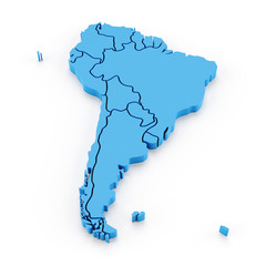 Extruded map of south america with national borders