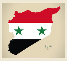 Modern Map - Syria flag colored SY
