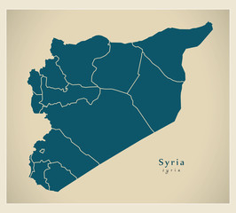 Modern Map - Syria with governorates SY