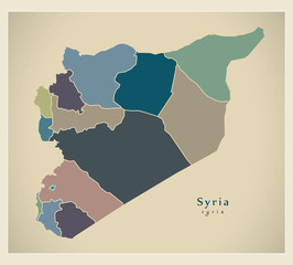 Modern Map - Syria with governorates colored SY