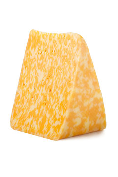 a piece of marble cheese isolated