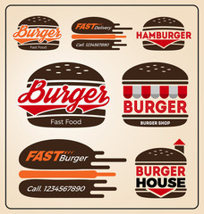 Set of burger shop icon logo design. For branding, sticker, decoration product, insignia, tags. Vector illustration