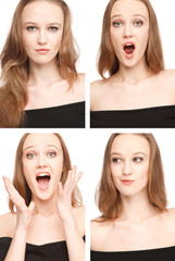 Four images of a young woman in photo booth