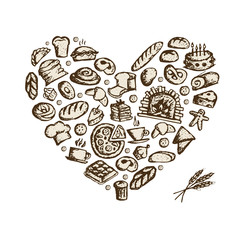 Bakery concept, love heart, sketch for your design