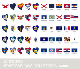 US states set, hearts and flags, part 1