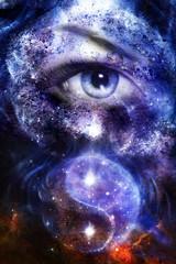 woman eye in space with stars.  yin yang