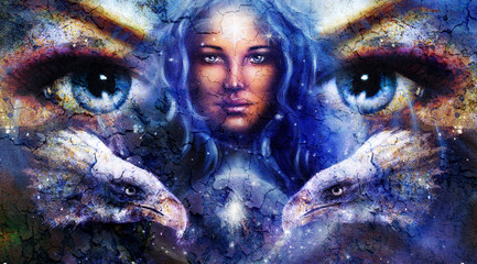 Goddess Woman in space with light stars and eagles head,