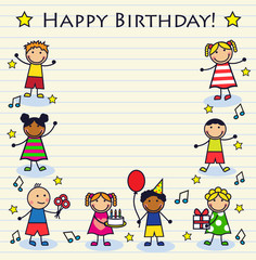 Cartoon children celebrating birthday on a striped background sheet. Background decorated cake, notes and stars