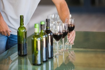 A wine tasting on a table