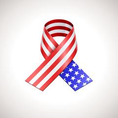 USA Flag Ribbon. Vector American Patriotic Sign