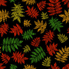 Vibrant texture with scraped nanakamado leaves. Seamless pattern