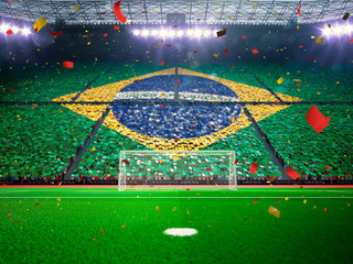 Flag Brazil of fans. Evening stadium arena Blue