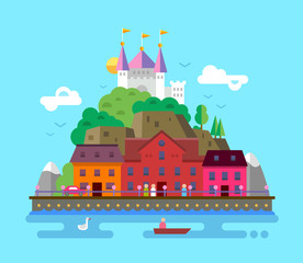 Flat design illustration of summer European beautiful landscape
