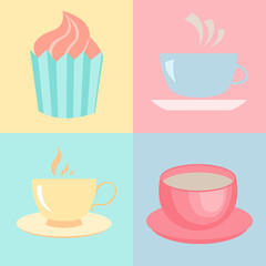 Cute cups and cakes. Vector illustration.