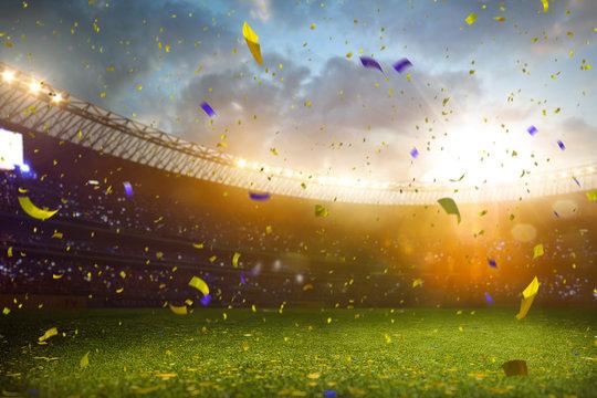 Evening stadium arena soccer field championship win