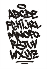 Vector graffiti font. Handwritten alphabet