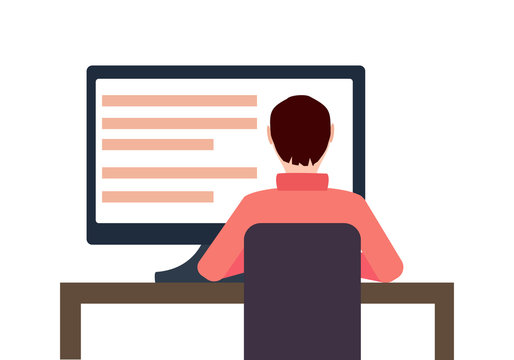Vector Workplace Concept Flat Illustration. Man Working On Desktop Computer.