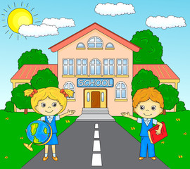 Boy and girl standing near the school building in a schoolyard