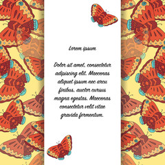 Card with butterflies and place for text.