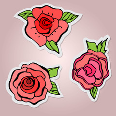 Set of stickers. Beautiful isolated flowers. Red roses with leaf