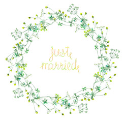 Wreath (frame) of wildflowers painted in watercolor on a white background, decoration postcard, greeting card or invitation