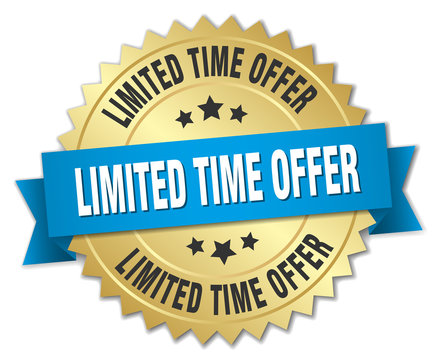 limited time offer 3d gold badge with blue ribbon