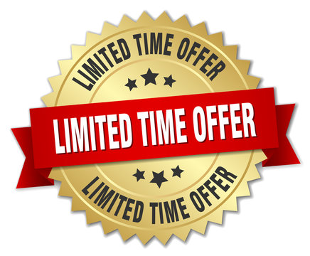 limited time offer 3d gold badge with red ribbon