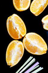 close-up photo of delicious fresh oranges into wedges