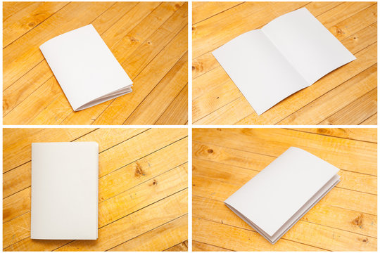 blank forms on a wooden background. Set mock-up