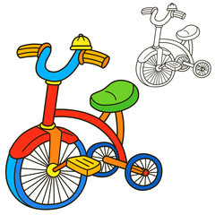 Bicycle. Coloring book page. Cartoon vector illustration.