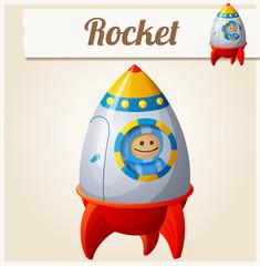 Toy rocket. Cartoon vector illustration. Series of children's