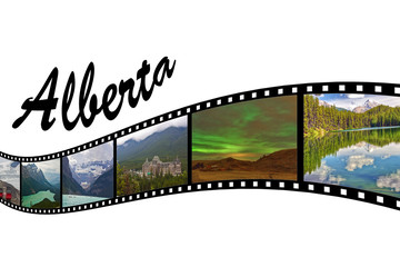 Travel Photo Film Strip of Alberta, Canada