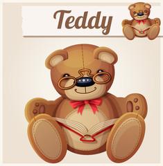 Teddy bear in glasses read the book. Cartoon vector illustration