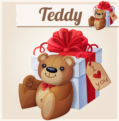 Teddy bear and the big gift box with red bow . Cartoon vector