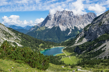 Zugspitze mit Bergsee Wall mural