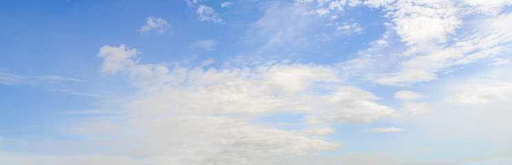 Blue sky background. Panoramic of cloudscape