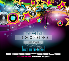 Club Disco Flyer Set with Colorful music themed elements