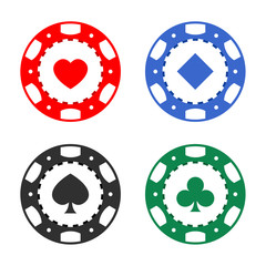Gambling casino poker chips color set