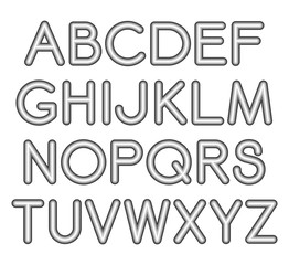 Serif font with rounded corners and contour. Letters on White background