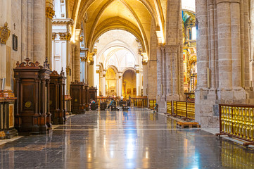 Interior of Valencia cathedral in Valencia, Spain