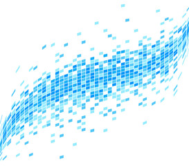 Abstract Blue Mosaic Wave Background - Illustration. Abstract Seamless Blue Check Data Flowing Technology Background - Illustration.