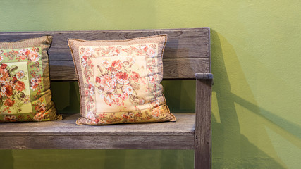Wooden bench with two handmade pillows