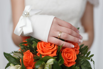 Wedding ring on bride's finger