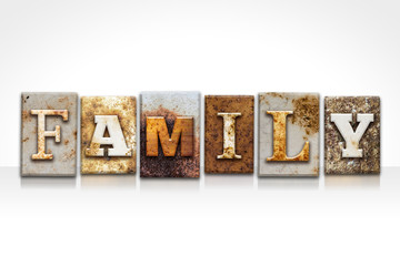 Family Letterpress Concept Isolated on White