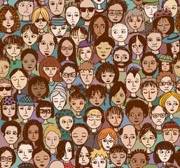 Unzufriedene Leute (buntes, handgezeichnetes Hintergrundmuster)