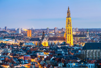 Photo sur Aluminium Antwerp Antwerp cityscape at dusk