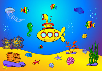 Yellow submarine and fish under water. Seahorse, jellyfish, cora